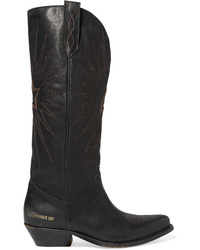 Golden Goose Wish Star Distressed Embroidered Leather Knee Boots