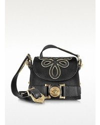 Black Embroidered Leather Crossbody Bag