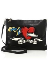 Love Moschino Embroidered Heart Dagger Faux Leather Crossbody Bag