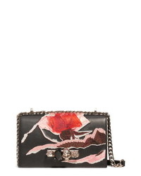 Alexander McQueen Embroidered Knuckle Ring Leather Crossbody Bag