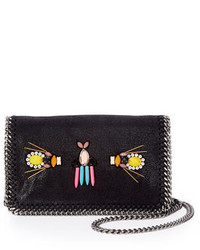 Stella McCartney Falabella Beaded Embroidered Crossbody Bag Black