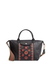 Longchamp Le Pliage Embroidered Leather Shoulder Bag