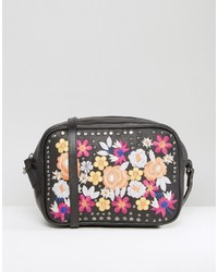 Asos Leather Summer Floral Embroidered Cross Body Bag