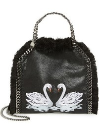 Stella McCartney Mini Falabella Shaggy Deer Embroidered Faux Leather Crossbody Bag Black