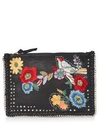 Topshop Oto Embroidered Leather Crossbody Bag Black