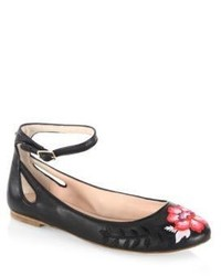 Kate Spade New York Embroidered Ankle Strap Leather Flats