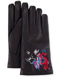 Gucci Leather Gloves With Dragon Embroidery