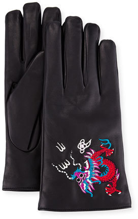 0809a841d8c ... Gucci Leather Gloves With Dragon Embroidery ...