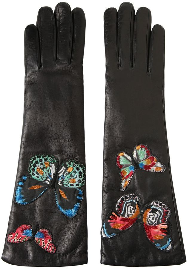 Valentino Butterfly Embroidered Leather Gloves