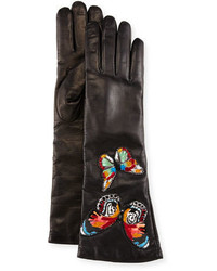 Valentino Embroidered Leather Gloves Black