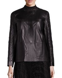 Lafayette 148 New York Holland Embroidered Leather Jacket