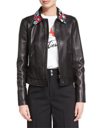 RED Valentino Leather Jacket With Flower Appliques