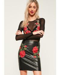 Black Embroidered Leather Mini Skirt