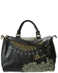 Black Embroidered Leather Satchel Bag
