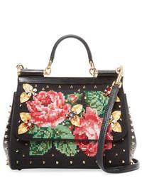 Dolce & Gabbana Sicily Medium Embroidered Satchel