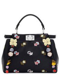 Fendi Peekaboo Mini Floral Embroidered Satchel Bag Black