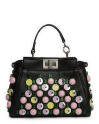 Fendi Micro Peekaboo Embroidered Apple Satchel
