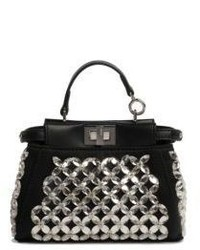Fendi Micro Peekaboo Embroidered Crystal Satchel