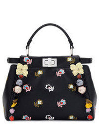 Fendi Peekaboo Mini Floral Embroidered Satchel Bag Black