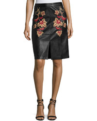MinkPink Mink Pink Fallen Embroidered Faux Leather Midi Skirt Black