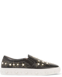 Aquazzura Cosmic Embellished Embroidered Leather Slip On Sneakers Black