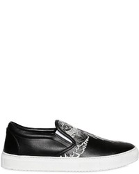 Marcelo Burlon County of Milan Embroidered Leather Slip On Sneakers