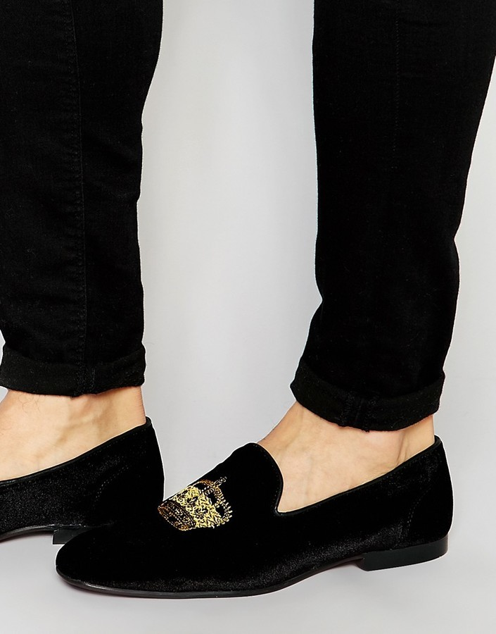 ab69ea29 $68, Asos Loafers In Black Velvet With Crown Embroidery