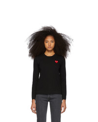 Comme Des Garcons Play Black And Red Heart Patch Long Sleeve T Shirt