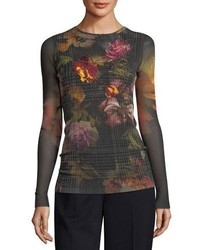 Fuzzi Long Sleeve Embroidered Wear Gardenia Floral Tulle Tee