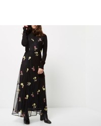 Petite black embroidered maxi dress medium 6447904