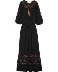Proade embroidered crepe maxi dress black medium 1152733