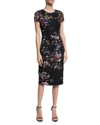 David Meister Short Sleeve Floral Embroidered Sheath Dress Black