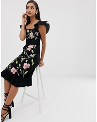 ASOS DESIGN Square Neck Midi Dress With Embroidery