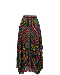 Etro Mixed Print Asymmetric Skirt