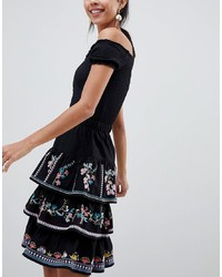ASOS DESIGN Tiered Mini Sun Skirt With Embroidery