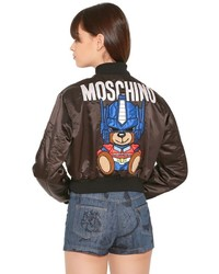 Moschino Embroidered Nylon Cropped Bomber Jacket