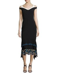 Peter Pilotto Cold Shoulder Embroidered Midi Dress Black