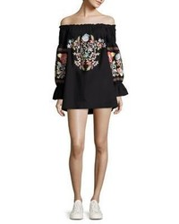 Free People Fleur Du Jour Off The Shoulder Embroidered Dress