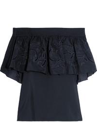 Black Embroidered Off Shoulder Top