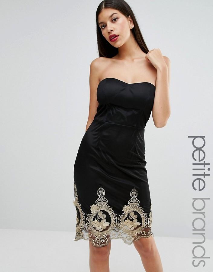 fb7736ec26f5 ... Black Embroidered Party Dresses Boohoo Petite Strapless Embroidered Hem  Mini Dress ...