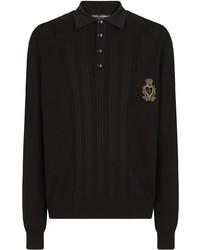 Dolce & Gabbana Ribbed Silk Blend Polo Shirt
