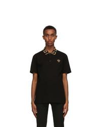 Versace Black Greca Collar Polo