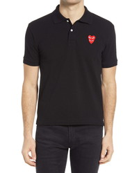Comme des Garcons Play Layered Hearts Short Sleeve Applique Polo