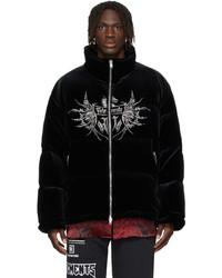 Vetements Black Down Velvet Crystal Logo Jacket
