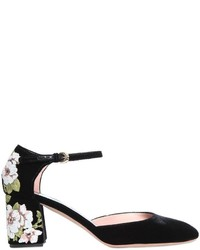 Rochas 60mm Embroidered Velvet Mary Jane Pumps