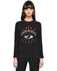 Kenzo Eye Embroidered Satin Backed Crepe Top