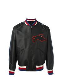 Black Embroidered Satin Bomber Jacket