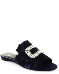 Roger Vivier Crystal Buckle Lace Embroidered Satin Slides