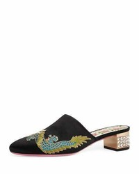 Gucci Candy Embroidered Satin Mule Pump