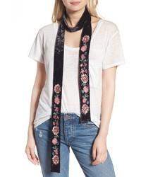 Hinge Floral Embroidered Velvet Skinny Scarf